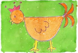 Simple chicken painting. Perfect for #kindergarten.