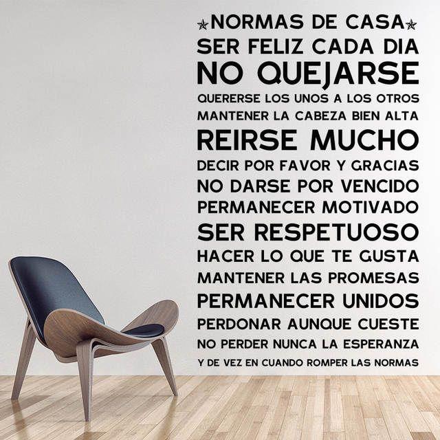 Version En Espanol Normas De Casa Reglas Pegatinas De Pared