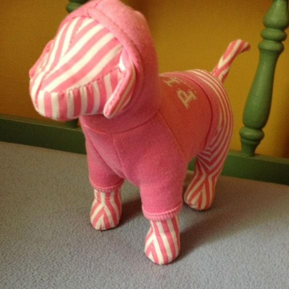Nwt vs older dog from early 2000s Nwt Victoria's Secret pink striped white puppy dog with pink sweatshirt . Older model Victoria's Secret Accessories