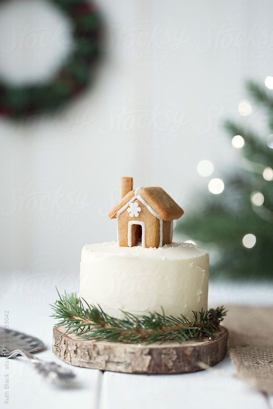 Cute Christmas cake with tiny gingerbread house decoration