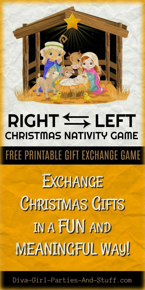 Free printable right left Christmas nativity game. Bring fun and MEANING into exchanging gifts at Christmas.