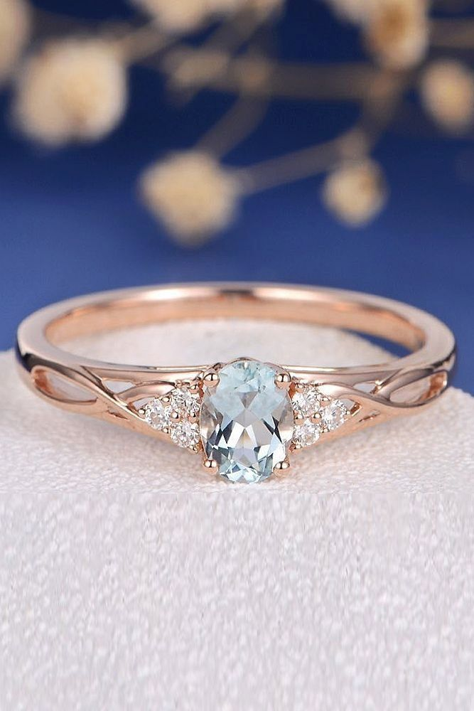 Aquamarine Engagement Rings For Romantic Girls ❤ aquamarine engagement rings rose gold oval cut twist ❤ More on the blog: #weddingring