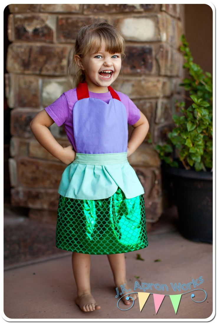 Children's Apron - Ariel The Little Mermaid - Disney Inspired Apron -  Play Apron, Cooking Apron - Mermaid Apron - Toddler's Apron by JKApronWorks on Etsy https://www.etsy.com/listing/248649391/childrens-apron-ariel-the-little-mermaid