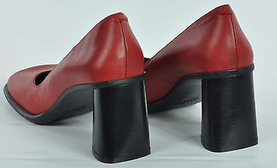 Women's Nickels Noww Flare Chunky Loafers Slip on Crimson size 7M Leather Heels