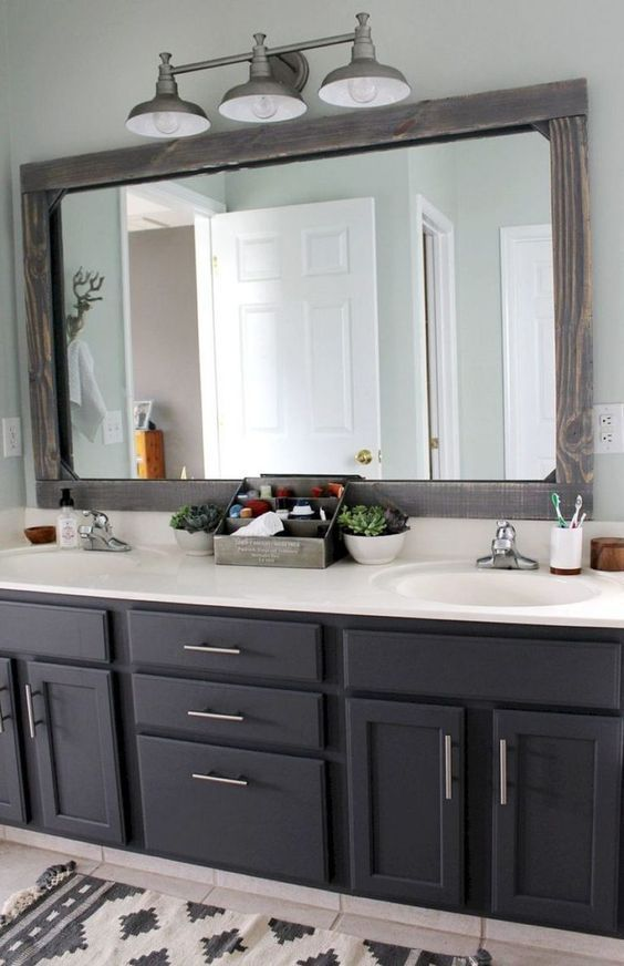 20 Framed Bathroom Mirror Ideas For Double Vanity Single Sink With