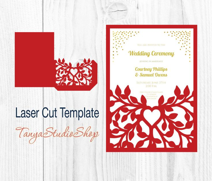 Wedding invitation - SVG, DXF, ai, CRD, eps, png - Tree Wedding Invitation - Laser Cut - Silhouette Cameo - Instant Download_47 by TanyaStudioShop on Etsy