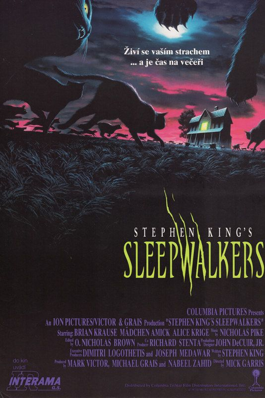 "Steven King's Sleepwalkers. 1992Czech 11.75""x16.5 Vintage Original MoviePoster.Awesome Barry E. Jackson Art of Cats.Brian Krause,Alice Krige by ArtisticSoulStudio on Etsy"