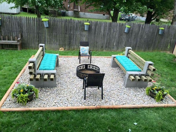 How about a gravel rectangle within the larger rectangle (made into a garden)? Keep the shape but make it more intimate/sized for a firepit?