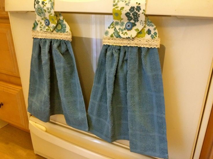 Hanging dish towels - floral blue kitchen towels - set of two hanging dishcloths - kitchen and dining linens - great for housewarming gift by EleghantCreations on Etsy https://www.etsy.com/listing/231618809/hanging-dish-towels-floral-blue-kitchen