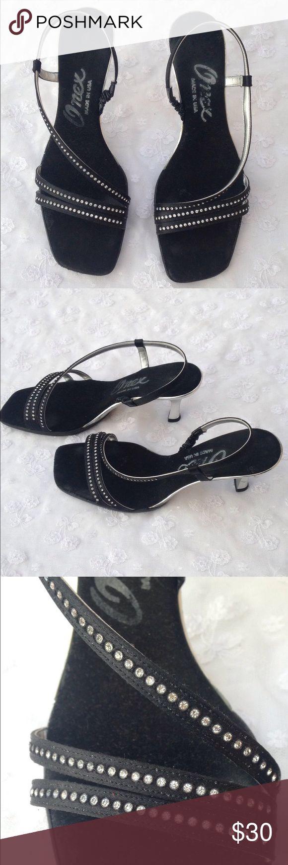 Onex Rhinestone Kitten Heel Sandals Cute black satin rhinestone sandals with silver kitten heels and silver bottoms Onex Shoes