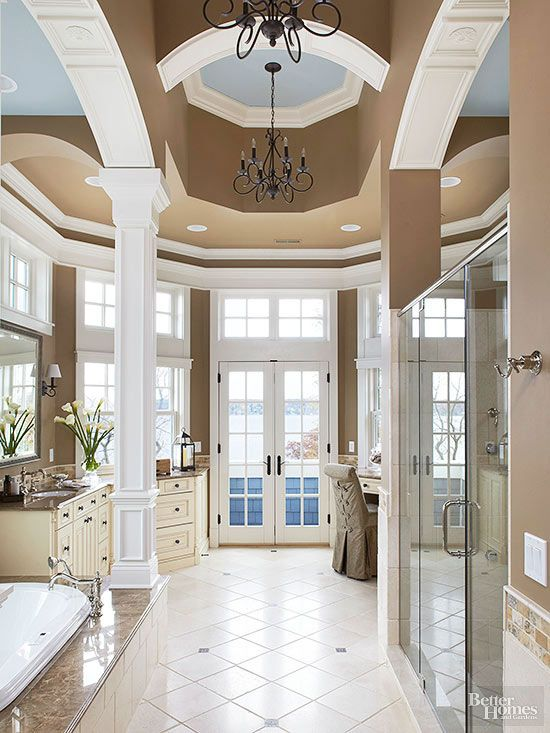 Dramatic Bathroom Architecture High Ceiling Decorating