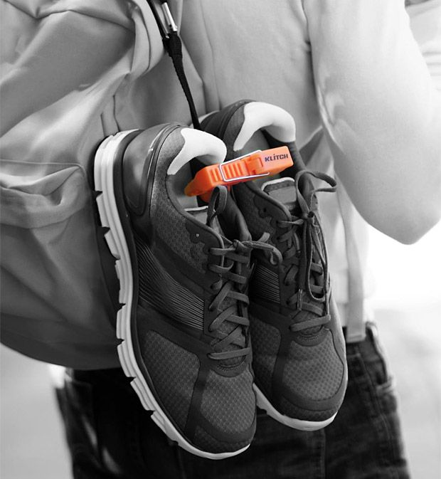 Klitch Footwear Clip    The Klitch is a clip that lets you hang your shoes on the outside of your bag and keeps them conveniently paired up for transport from home to the gym to the golf course and everywhere else you need to bring spare footwear.