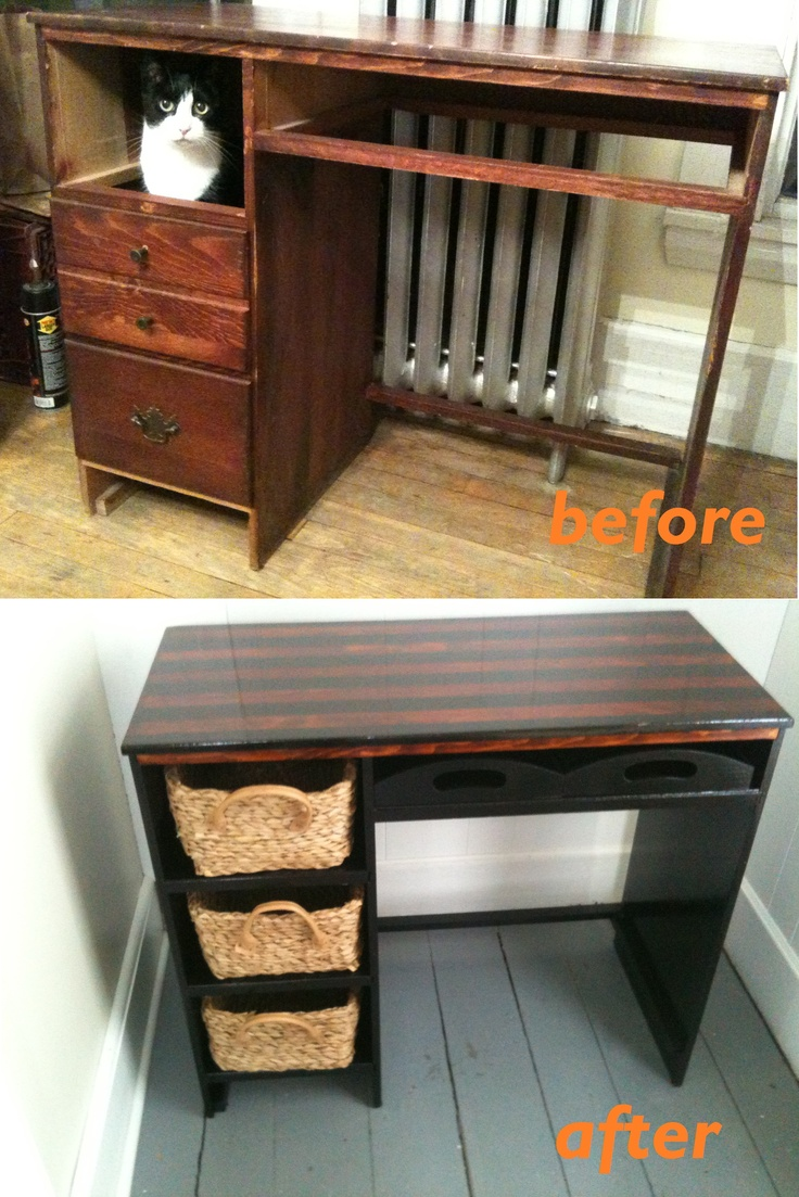 Refurbished desk -- repainted using painters tape and black high gloss enamel; drawers replaced/added.