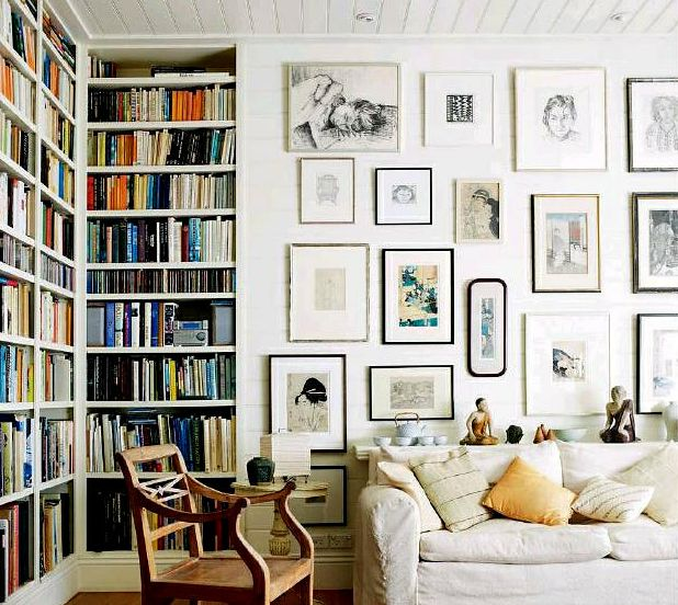 gallery wall + bookshelves.