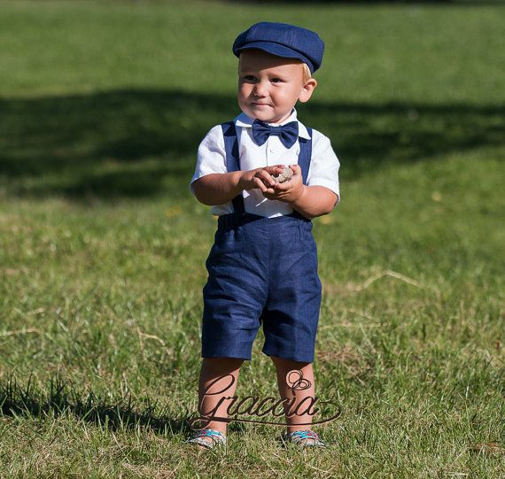 Newsboy ring bearer outfit baby boy linen suit shorts by Graccia