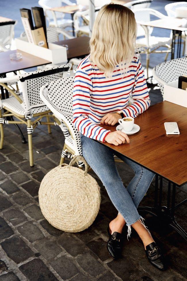 Breton t-shirt, skinny jeans, straw bag & loafers on Jessie Bush | @styleminimalism
