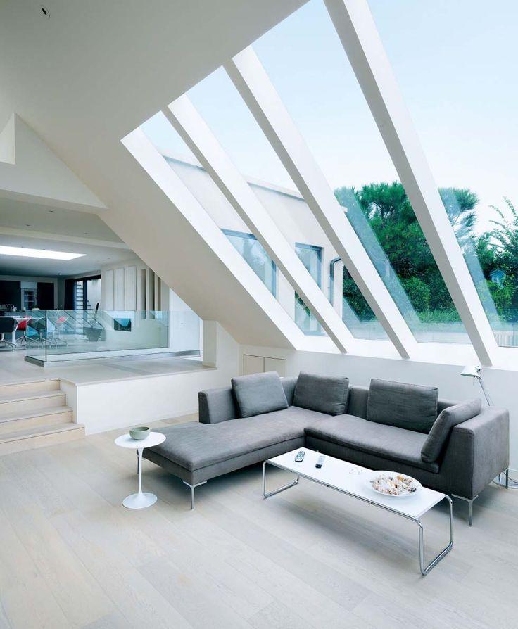 Engineered white oak boards create a laid-back feel