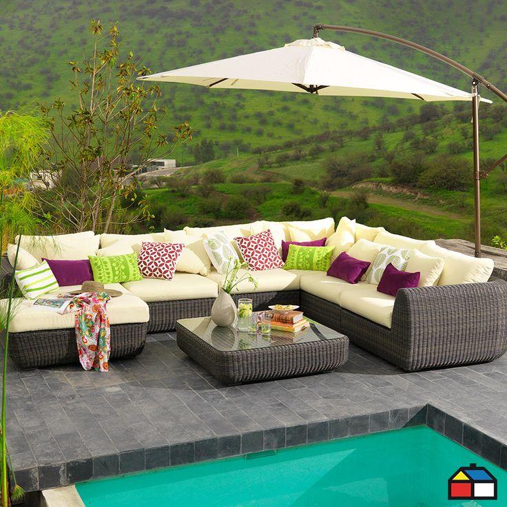 Juego seccional de aluminio de ratán de PE #terraza #jardin