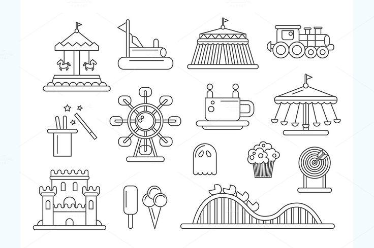 Amusement Park Line Design Icons by Decorwith.me Shop on Creative MarketTomas Lindberg