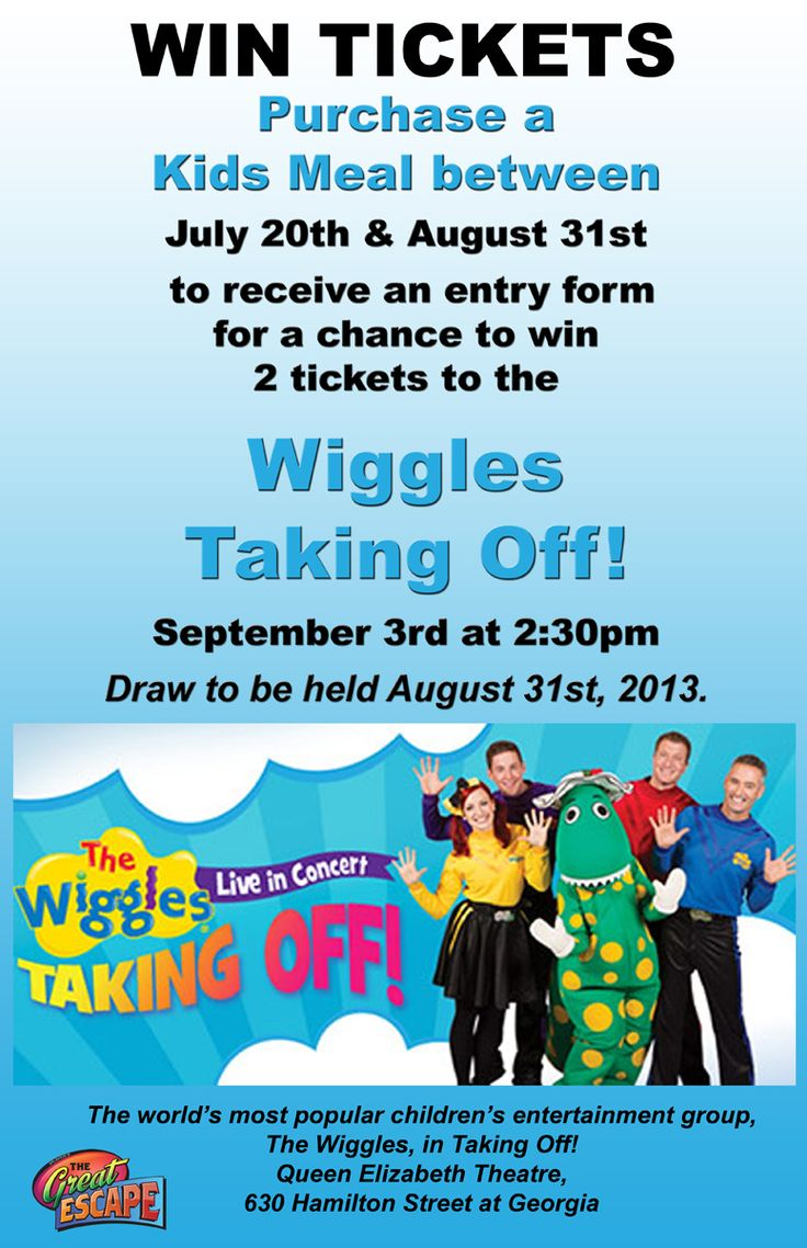 Win tickets to see #Wiggles #Taking #Off Concert. Between July 20th and August 31, just purchase a Kids Meal and your name will go into the draw to win tickets.  www.thege.ca  #Family #Entertainment #Center in #Langley #BC, close to #Vancouver.