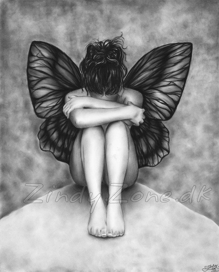 Sad Butterfly Girl Angel Art Print Glossy Emo Goth Girl Zindy Nielsen. $14.95, via Etsy.