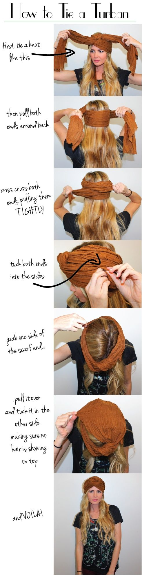 wonder if colored muslin fabric would work for this. How to Tie a Turban with a Scarf.  might be my new hairdo while I have a newborn!