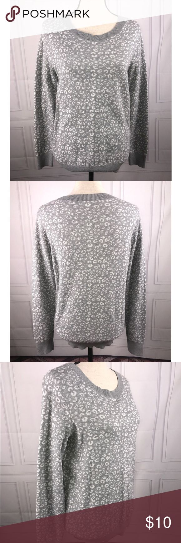 Ann Taylor Loft Factory Medium Gray White Sweater Ann Taylor Loft Factory Medium Gray White Animal Print Long Sleeve Sweater  See pictures for additional details.  Very good used condition  See pictures for flaws (if any), fabric content, cleaning instructions and measurements.  Thank you for looking at my store! LOFT Sweaters Crew & Scoop Necks