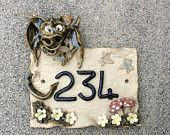 House number plaque, ceramic house sign, dragon design door numbers. - pinned by pin4etsy.com