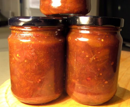This chutney is a beautiful colour...especially when you use the deep deep orange apricots. I just guessed at the amount of jars and it is not stated in the recipe.