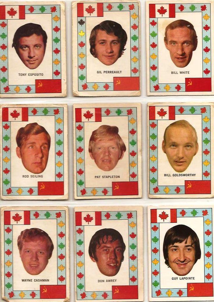 Team Canada inserts: Tony Esposito, Gilbert Perreault, Bill White, Rod Seiling, Pat Stapleton, Bill Goldsworthy, Wayne Cashman, Don Awrey, Guy LaPointe