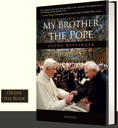 """""""My Bother, the Pope"""" is a memoir by Pope Benedict XVI's older brother, Msgr. Georg Ratzinger. What a fascinating family the Ratzingers are--you can read all about the two brothers' early life in this book, including their vibrantly Catholic childhood, days in the seminary, and the day when they were both ordained. Yes, they were ordained the same day! #PopeBenedictXVI #Catholic"""