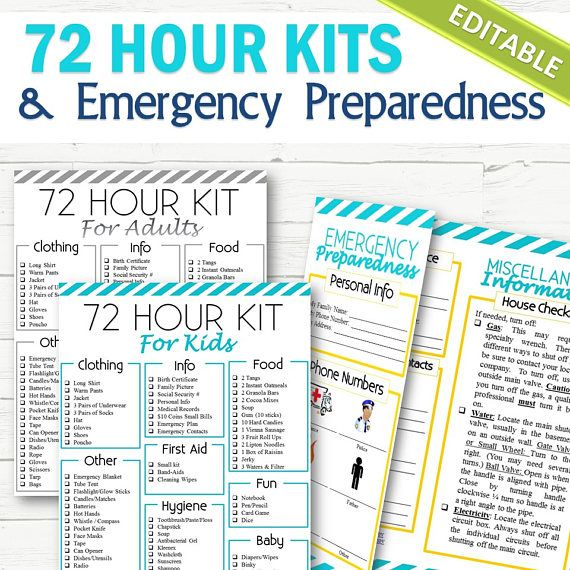 EDITABLE 72 Hour Kits and Family Emergency Plan  INSTANT