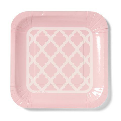 Our signature design plates with our Moroccan tile quatrefoil.  In pretty pink and nine other colours available.