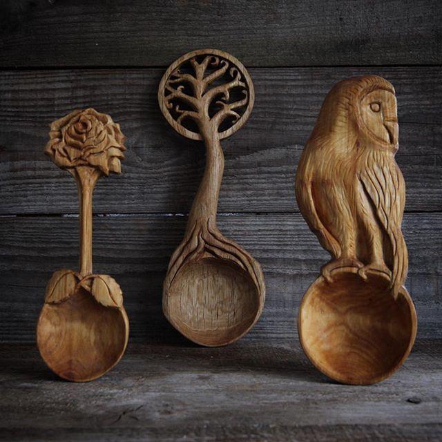 Ложки вырезанные из дерева Художник Giles Newman