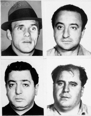 1972 | 'Some' of the men responsible for the assassination of mobster Joseph 'Crazy Joe' Gallo are in protective custody of the police. Source identified 1 man in protective custody as Joseph Luparelli, associate of Joseph Yacovelli (UR), the acting head of the Joseph Colombo crime family. The source also said Luparelli identified the other alleged killers of Gallo as Philip Gambino (LR) said to be a distant relative of Carlo Gambino & Carmine De Biase (LL) & w/2 unidentified.