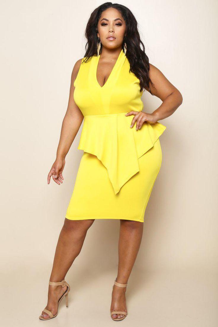 Yellow Scuba Peplum Plus Size Bodycon Dress
