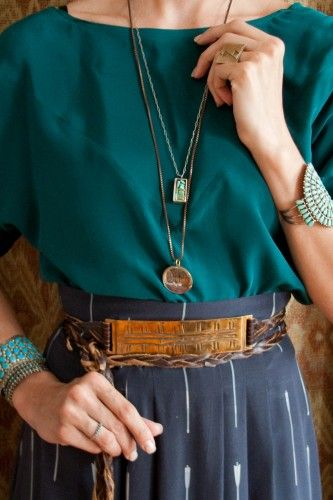 Gretchen Jones top, skirt, and belt, Gretchen Jones ring and necklace, vintage turquoise jewelry from Ruby + George.