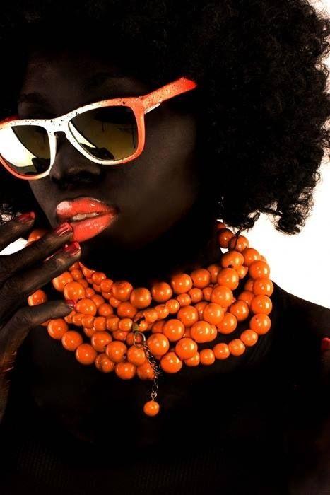 #orange #afro #editorial #portrait #photography #blackwomen #beads #necklace #shades #sunglasses #lips #zienrs #sunglasses