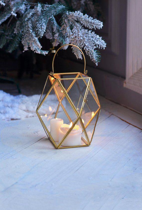 1dc01b928e Lantern centerpiece Geometric candle holder Wedding lantern Geometric table  decor Candle lantern Han