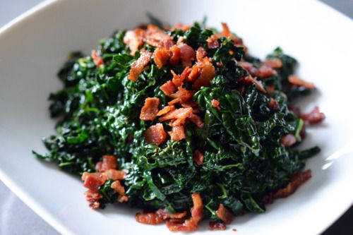 Quick and Simple Stir-Fried Kale and Bacon Recipe Side Dishes, Main Dishes with kale leaves, bacon, vinegar, kosher salt, ground black pepper