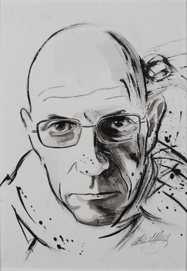 Saatchi Art: Michel Foucault Drawing by Ulku Yilmaz
