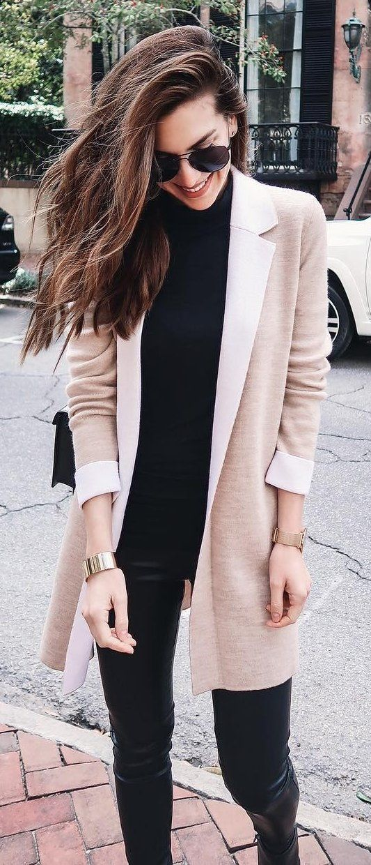 #winter #fashion /  Cream Blazer + Black Turtleneck