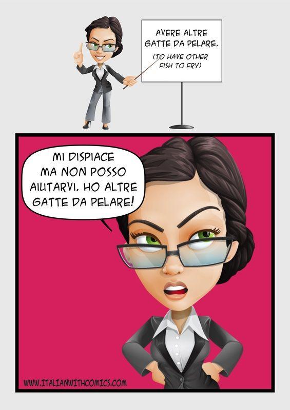 """Idiom of the day: """"Avere altre gatte da pelare""""."""