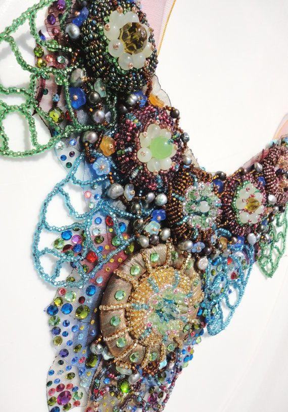 One of a kind, Multicolour bead embroidered fantasy Couture necklace #EasyNip