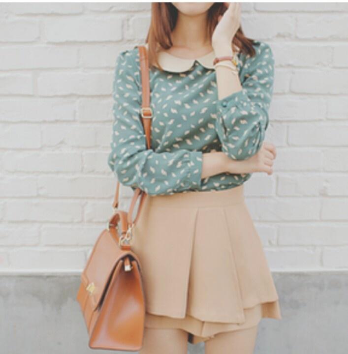 printed green shirt + camel skirt