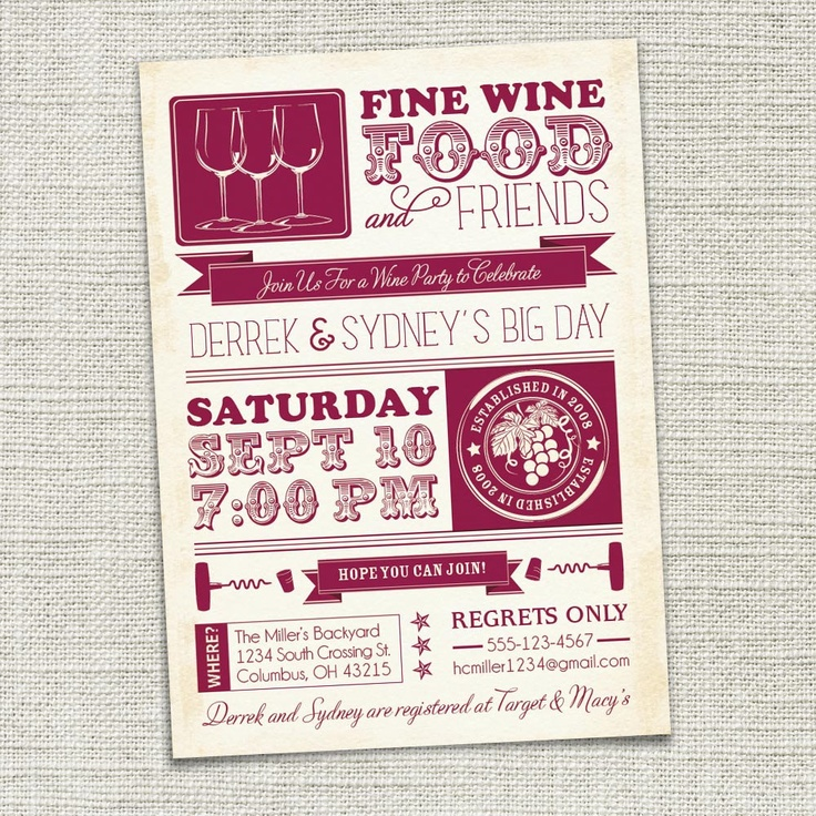 Wine Party Invitation, Wine Tasting, Couples Shower (PRINTABLE). $18.00, via Etsy.