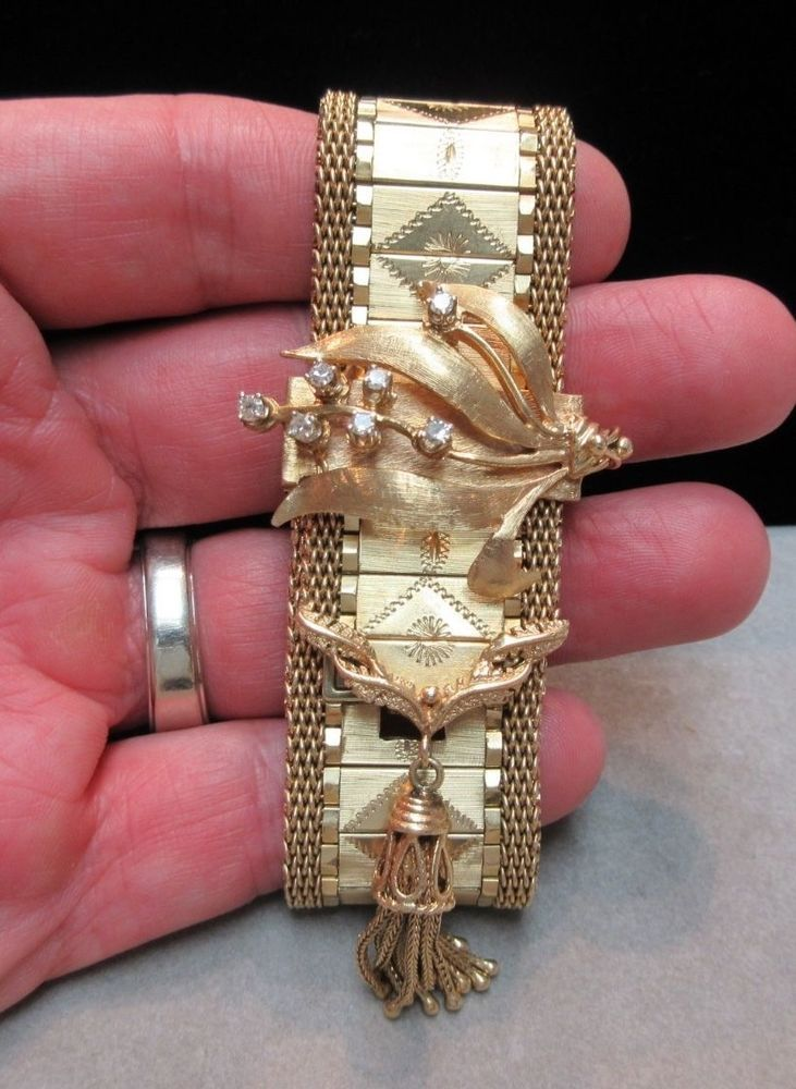 VTG ANTIQUE 14K GOLD DIAMOND LADIES LUVA WRIST WATCH TASSEL BRACELET 90 GRAMS #Luva #LuxuryDressStyles