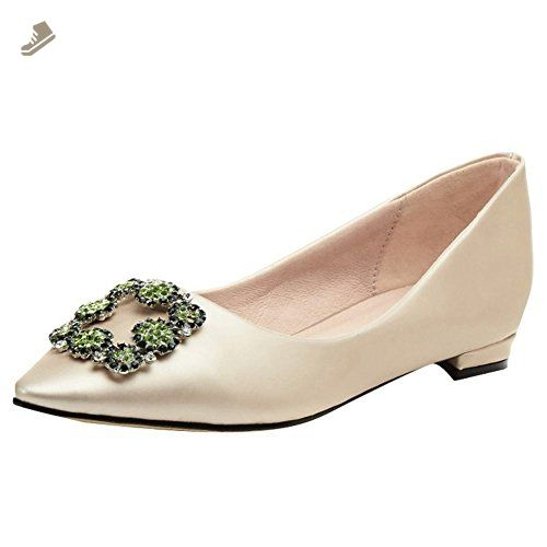 Charm Foot Women's Fashion Pointed Toe Rhinestone Flat Pump Shoes (4.5, Beige) - Charm foot pumps for women (*Amazon Partner-Link)