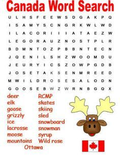 Canada word search puzzle