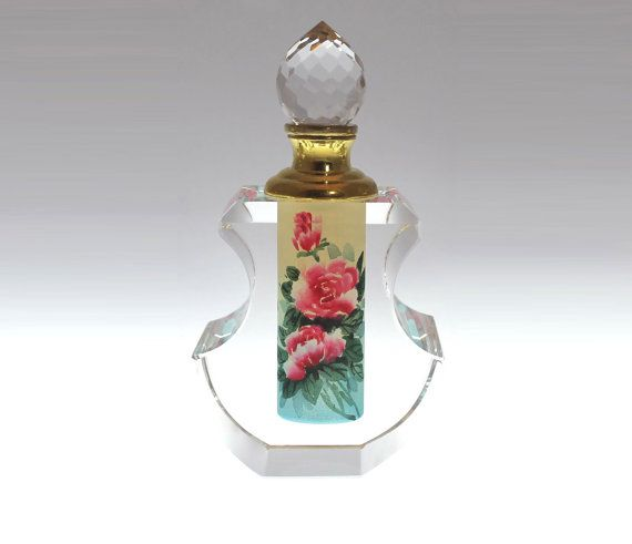 Tea Rose Perfume Bottle Collectible - Hand-Painted Art Glass, PBA04-471